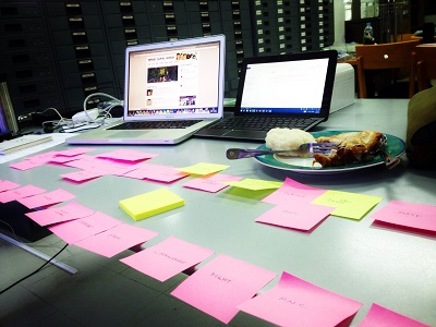 Some of the Post-Its Luke used to build his plot summary